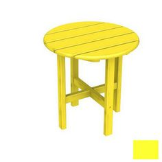 POLYWOOD�18-in x 18-in Lemon Round Patio Side Table
