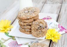 Whole Wheat Oatmeal Chocolate Chip Cookies @Caroline Edwards   chocolate and carrots