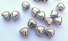 Tiny Silver Heart Beads 6mm (25) Pewter Puffy Texture Hearts Fancy Charms Drops Antique Wholesale Jewelry Supplies CrazyCoolStuff