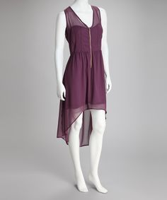 Take a look at this Purple Zipper Sleeveless Hi-Low Dress by Reborn Collection on #zulily today! $25 !!