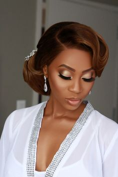 Makeup For Black Skin, Fancy Makeup, Wedding Makeup For Brown Eyes, Black Girl Makeup, Bridal Makeup Looks, Bridal Hair And Makeup, Bride Makeup, Wedding Hair And Makeup, Girls Makeup