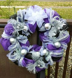 Purple, black and silver Christmas / winter deco mesh wreath.