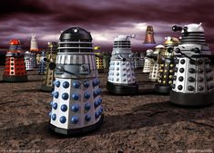 A Murder of DALEKS? No, that is what you call a group of crows. A gaggle? What do you call a group of DALEKS? Doctor Who Dalek, Doctor Who Fan Art, Group Of Crows, Doctor Who Magazine, Original Doctor Who, Doctor Who Poster, My Favorite Image, Classic Tv, Dr Who