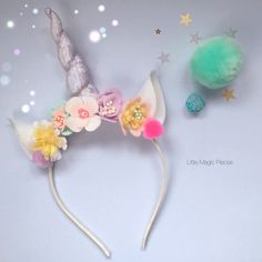 This whimsical Unicorn Flower Crown Headband is made with lots of love and its perfect dressing up, birthday party accessory or magical photo prop for your photo session. ➤ Handmade 100% wool felt flowers, Iridescent glitter fabric, sequins, pom poms attached to a hard headband, but could also be made on to elastic headband, just leave me a note before checkout together with a size required. ➤ Comes specially wrapped so perfect as a Gift. *** PLEASE READ SHOP POLICIES BEFORE PURCHASING…
