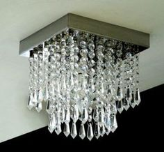 do it yourself - chandelier Ceiling Fixtures, Ceiling Lights, Chandelier Art, Dollar Tree Decor, Hanging Crystals, Ceiling Design, Wall Sculptures, Lampshades, Home Decor
