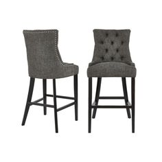 StyleWell Bakerford Ebony Wood Upholstered Bar Stool with Back and Charcoal Seat (Set of in. H) Nutton - H EC - The Home Depot Counter Stools With Backs, High Bar Stools, Leather Counter Stools, Counter Height Stools, Stool Height, Bar Height Table, Upholstered Bar Stools, Backless Bar Stools, Bar Seating