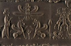 The faravahar holds a ring (a symbol of eternity) or branch and extends his other arm to bless. A cylinder seal is of 6th-4th c. BC Achaemenid Persian origin and found near Babylon. Babylon Iraq, Ahura Mazda, Ancient Egypt, Ancient Art, Ancient History, Ancient Persian, Achaemenid, Ancient Near East, Sumerian