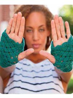 Crochet a Pair of Basketweave Fingerless Gloves or Mittens