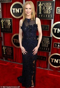 Midnight black: Nicole Kidman spiced her black look up with a layering of blue thanks to the handiwork of Vivienne Westwood at the SAG Awards 2013