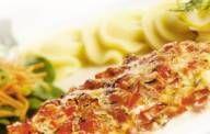 Vis met tomaat uit de oven met Boursin. Oven: 200 graden.