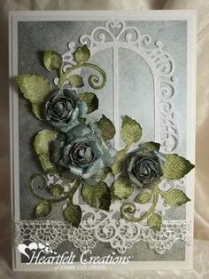 Heartfelt Creations | Window With Teal Roses