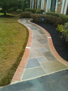 Add curb appeal to your house with this paver #walkway to the front door. Repin if your front yard could use one of these. | Washington DC Area | Johnson's Landscaping Service