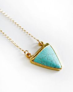 Turquoise Triangle Pendant by pinejewelry on Etsy,