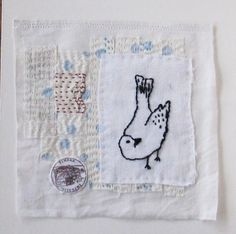 Small art quilt embroidery  bird by ColetteCopeland on Etsy, $45.00