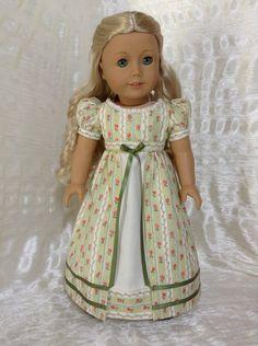 Green striped Regency dress by DollSizeDesigns, $69.00
