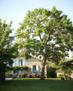 Southwest France The manicured lawn of a stone cottage in southwest France belonging to Los Angeles-based designer Kathryn M. French Style Homes, French Country Style, Outdoor Garden Decor, Outdoor Gardens, Veranda Magazine, Internal French Doors, Double Doors, French Exterior, Blue Shutters