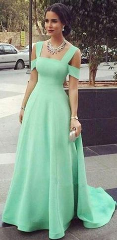 Mint Green A Line Off Shoulder Satin Long Prom Dresses Evening Dresses OK896 #green #satin #simple #aline #long #prom #okdresses