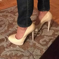 """Gorgeous Bebe Two Toned 5"""" Heels Bebe Cream/Beige Heels. Exterior Finish Cream / Platform Beige Finish. In the Nude Heel Family. Never Worn. No Box. See Photos For Scuffs on Right Heel.  Heel Height = Apx. 5"""" Reasonable Offers Welcome. bebe Shoes Heels"""