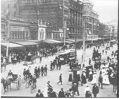 Swanston St, corner of Flinders Street (note Prahran cable tram), ca. 1900.
