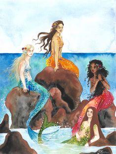 Mermaids. An A3 watercolour of a group of mermaids relaxing on some rocks.  Scott Keenan, 2017. #mermaid #mermaids #illustration #art