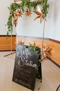 """Alternative photo booth, chalkboard """"Selfie Station"""" sign, grab a friend and strike a pose, wedding hashtag, photo station, copper stars, greenery // Meredith McKee Photography"""