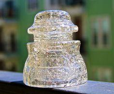 glass insulator ~ 'crackled' ~ I remember my mom doing this to insulators when I was young. Insulator Lights, Glass Insulators, Fenton Glass, Glass Ceramic, Porcelain Insulator, Antique Shelves, Isolation, Old Bottles, Crackle Glass