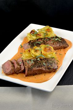 Lamb rump steak and paprika sauce, an easy recipe for pan seared lamb steaks with white wine and paprika sauce, perfect for dinner parties! Lamb Recipes, Meat Recipes, Dinner Recipes, Cooking Recipes, Paprika Sauce, Lamb Dishes, Food Dishes, Rump Steak Recipes, Steaks