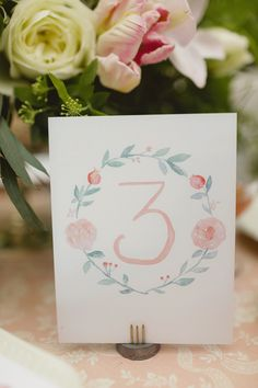 Watercolor Wreath Table Numbers  - by Leveret Paperie