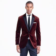 Crew - Ludlow contrast peak lapel sportcoat in cabernet velvet Discount Mens Clothing, Mens Dress Pants, Sport Coat, Mens Suits, Blazer Jacket, Nice Dresses, Casual Outfits, Casual Clothes, Burgundy Color