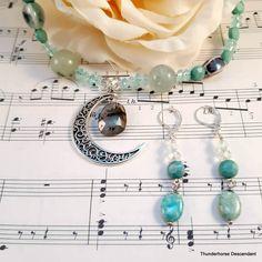 Bead Store, Moon Necklace, Acrylic Beads, Stone Beads, Handmade Silver, Beaded Earrings, Crystal Beads, Labradorite, Earring Set