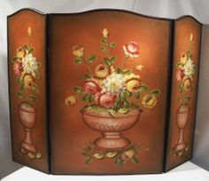 Antique hand painted wooden fireplace screen fireplace screens and vintage hand painted floral still life arts crafts style wood fire place screen teraionfo