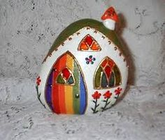 Fairy House Painted River Rock (front) by Pebble Painting, Pebble Art, Stone Painting, House Painting, Pebble Mosaic, Painted River Rocks, Hand Painted Rocks, Painted Pebbles, Painted Stones