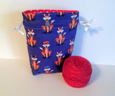 Project Bag, Sock Bag, Sock Project Bag, Knitting Bag, Knitting Pouch, Drawstring Pouch, Fox Project Bag, Knitting tote by QuiltKnitCraft on Etsy https://www.etsy.com/listing/265575801/project-bag-sock-bag-sock-project-bag