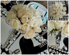 Tablescapes at Table Twenty-One - Breakfast at Tiffany's - Roses, mirrored vase…