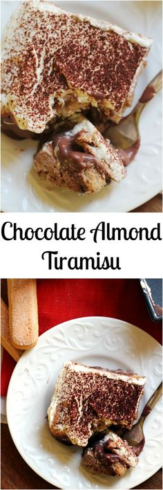 Layers of almond-kissed whipped mascarpone, chocolate ganache, and espresso-dunked ladyfingers make this chocolate almond tiramisu ultra decadent.y