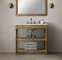 Weathered Oak Single Washstand
