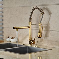 Modern PVD Golden Kitchen Faucet Dual Spouts Spring Sink Mixer Tap + Cover Plate