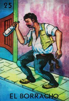 Loteria El Borracho mexicano ilustración Retro por WeLoveCMYK