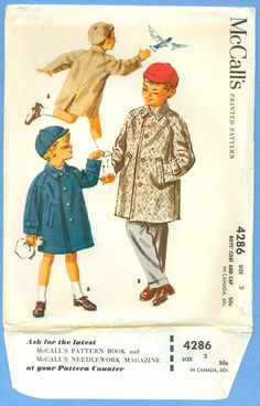 1957 Boys' Size 2 Coat and Cap - Vintage McCall's Sewing Pattern 4286