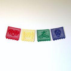 Day of the Dead Bunting Crochet Pattern pdf - Set of 4 - Halloween, Dia de los Muertos, Skull, Skeleton, Holiday, Mexico - Home Decor. $6.75, via Etsy.