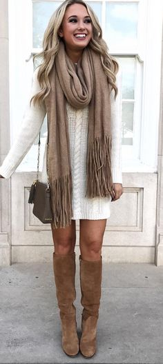 I LOVE this sweater dress look, and the tall boots are perfect! This look is definitely ME!!! The camel scarf looks super soft and adds just the right touch! Love it! https://gift-savings.myshopify.com/collections/women-watchs