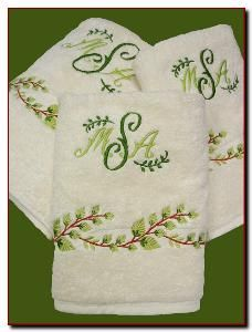 Set of Six Custom Embroidered Towels with Greens - Optional Monogram from www.wellappointedhouse.com