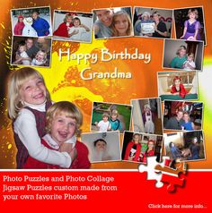 A lovely Photo Collage Puzzle for Grandma. These are really unique and highly personalized gifts. Visit jigsaw2order.com for more info. #photo #collage #birthday gift