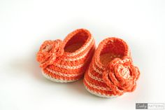 LOVELY ORANGE – Crochet Baby booties/Flats