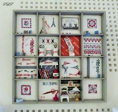 Dernière série de photos de l'expo du club Créa'Fil de Toulouges (66).... Les casiers! Tout d'abord quelques casses d'imprimerie:  ...