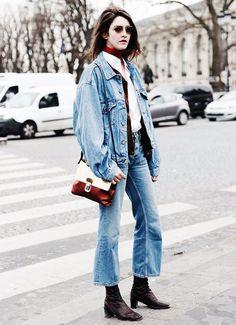 Denim jacket + flared jeans