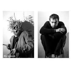 Before and after of actor Rafka Fi'Oljor-dà from Fábrica de Amigos by Diego Ingold. Photography in black and white.