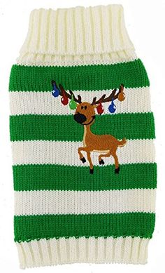 MaruPet New Year Doggie Ribbed Halloween Two-leg Sweater Knitwear Turtleneck Striped Elk Printed Christmas Cotton Vest Top for Teddy, Chihuahua, Shih Tzu, Yorkshire Terriers, Golden Retriever Green S