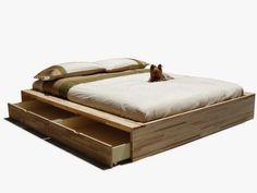 Cama de casal de madeira com armazenamento