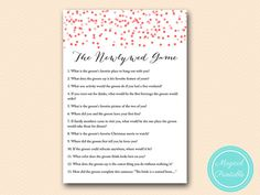 The newlywed game how well bride knows the by MagicalPrintable